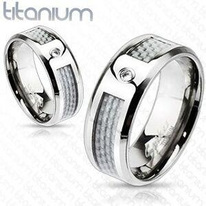 Titánový prsteň - biely sieťovaný vzor so zirkónom - Veľkosť: 52 mm