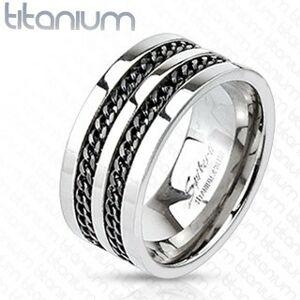 Titánový prsteň - čierne retiazky - Veľkosť: 65 mm