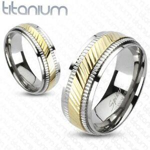 Titánový prsteň - dvojfarebný, vrúbkovaný - Veľkosť: 67 mm