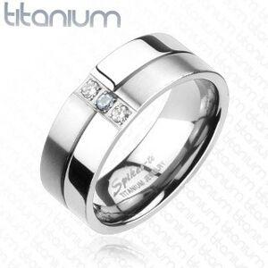 Titánový prsteň - lesklé a matné prúžky, zirkóny - Veľkosť: 64 mm