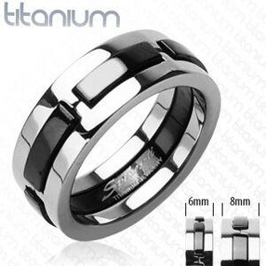 Titánový prsteň s čiernymi vystúpenými pásmi - Veľkosť: 72 mm