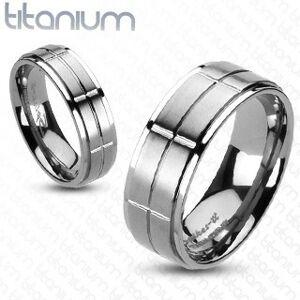Titánový prsteň s matnými obdĺžnikmi - Veľkosť: 59 mm