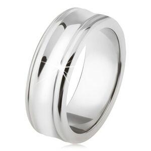 Titánový prsteň - strieborná farba, lesklý, prehĺbený stredný pás - Veľkosť: 59 mm