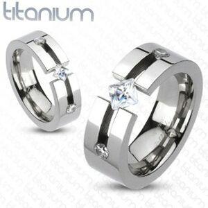 Titánový prsteň - výrez, štvorcový a okrúhle zirkóny - Veľkosť: 71 mm