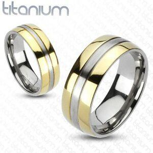 Titánový prsteň - zlatá a strieborná farebná kombinácia - Veľkosť: 65 mm