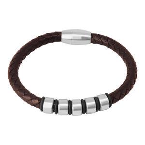 Tmavohnedý kožený náramok - pletená šnúrka s kovovými valčekmi a gumičkami, magnetické zapínanie