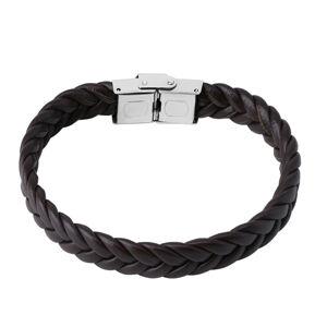 Tmavohnedý kožený pletený náramok - pletenec, hodinkové zapínanie