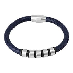 Tmavomodrý kožený náramok - pletená šnúrka s kovovými valčekmi a gumičkami, magnetické zapínanie