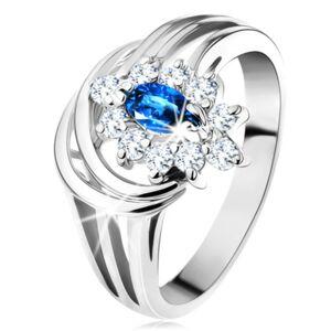 Trblietavý prsteň s rozvetvenými ramenami, tmavomodrý zirkón, číra obruba - Veľkosť: 50 mm