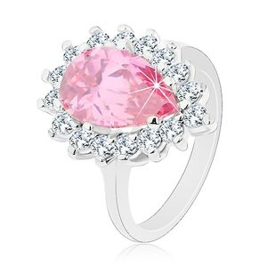 Trblietavý prsteň s úzkymi ramenami, ružová zirkónová slza, okrúhle zirkóniky - Veľkosť: 57 mm
