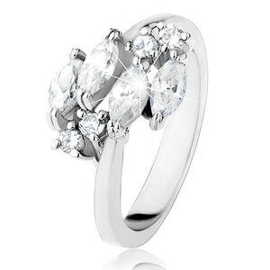 Trblietavý prsteň striebornej farby, číre zrnkové a okrúhle zirkóniky - Veľkosť: 60 mm