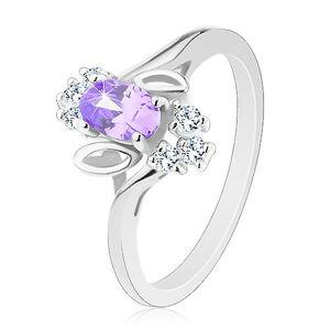 Trblietavý prsteň, svetlofialový oválny zirkón, lístočky, číre zirkóniky - Veľkosť: 51 mm