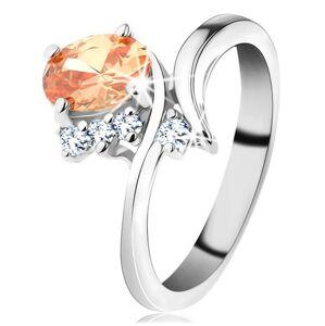 Trblietavý prsteň v striebornom odtieni, oválny zirkón v oranžovej farbe - Veľkosť: 60 mm