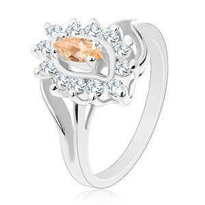 Trblietavý prsteň v striebornom odtieni, svetlooranžové zrnko, číre zirkóniky - Veľkosť: 57 mm