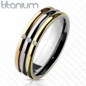 Trojfarebný titánový prsteň so zirkónmi - Veľkosť: 54 mm