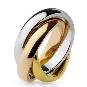 Trojitý prsteň z ocele - trojfarebná kombinácia - Veľkosť: 55 mm