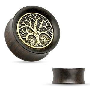 Tunel do ucha z ebenového dreva, vyrezávaný košatý strom, čierna patina - Hrúbka: 14 mm