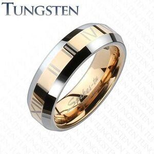 Tungstenová obrúčka - pás medenej farby s rímskymi číslami - Veľkosť: 63 mm