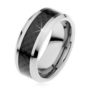 Tungstenová obrúčka striebornej farby, stredový pás z čiernych vlákien, 8 mm - Veľkosť: 62 mm