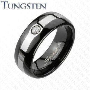 Tungstenový čierny prsteň - pás v striebornej farbe, zirkón - Veľkosť: 70 mm