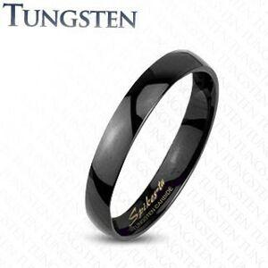 Tungstenový hladký čierny prsteň, vysoký lesk, 2 mm - Veľkosť: 59 mm