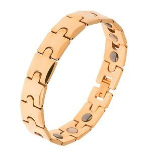 Tungstenový náramok, zlatá farba, motív puzzle, magnetické guličky