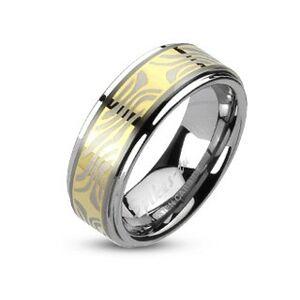 Tungstenový prsteň s pruhom zlatej farby a zebrovým motívom - Veľkosť: 64 mm