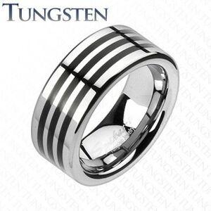 Tungstenový prsteň s troma čiernymi pásikmi po obvode - Veľkosť: 64 mm