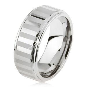 Tungstenový prsteň striebornej farby, lesklé a matné pásiky - Veľkosť: 54 mm