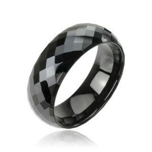 Tungstenový - Wolfrámový prsteň čierny vzor disco - Veľkosť: 62 mm