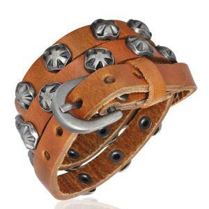 Úzky kožený náramok - Maltézsky symbol, karamelový