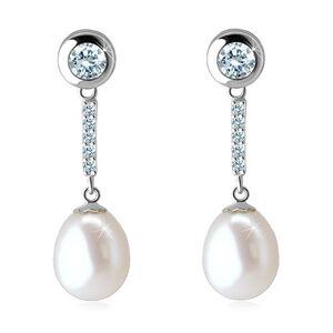 Visiace náušnice z bieleho 14K zlata - biela perla, zirkónová línia a číry zirkón v objímke