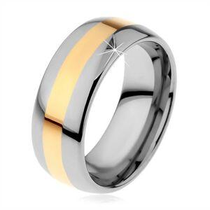Volfrámový prsteň v dvojfarebnom prevedení - prúžok zlatej farby, 8 mm - Veľkosť: 62 mm