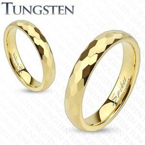 Wolfrámový prsteň - obrúčka zlatej farby s brúsením do šesťhranov - Veľkosť: 47 mm