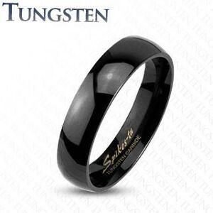 Wolfrámový prsteň v čiernom odtieni, zrkadlovolesklý hladký povrch, 4 mm - Veľkosť: 51 mm