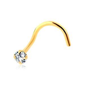 Zahnutý piercing do nosa v žltom zlate 585 - trblietavý okrúhly zirkón čírej farby
