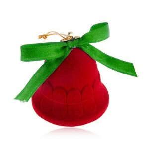 Zamatová krabička na šperk, červený zvonček, lesklá zelená mašlička