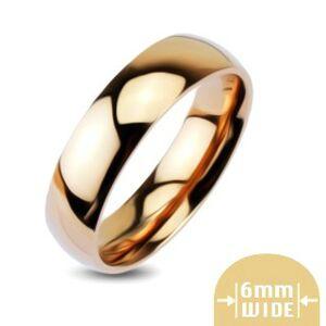 Zaoblená lesklá kovová obrúčka v zlatoružovej farbe - Veľkosť: 51 mm