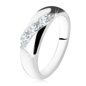 Zásnubný prsteň, diagonálna línia okrúhlych čírych zirkónov, striebro 925 - Veľkosť: 49 mm