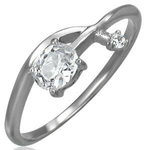 Zásnubný prsteň - prepletená zirkónová šípka - Veľkosť: 57 mm