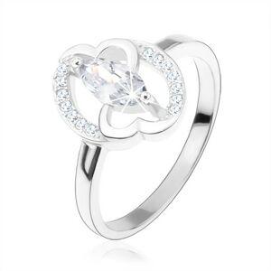 Zásnubný prsteň, striebro 925, číre zirkónové zrnko, prepojené srdcia - Veľkosť: 54 mm