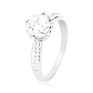 Zásnubný prsteň, striebro 925, číry okrúhly zirkón v dekoratívnom kotlíku - Veľkosť: 64 mm