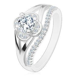 Zásnubný prsteň, striebro 925, číry zirkónový kvietok a línia drobných zirkónov - Veľkosť: 56 mm