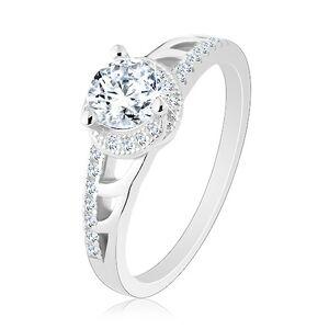 Zásnubný prsteň, striebro 925, trblietavé ramená s výrezmi, okrúhly zirkón - Veľkosť: 60 mm