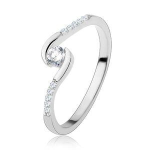 Zásnubný prsteň, striebro 925, úzke ramená, číry okrúhly zirkón - Veľkosť: 48 mm