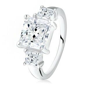 Zásnubný prsteň, veľký štvorcový zirkón, dva menšie po bokoch, striebro 925 - Veľkosť: 49 mm