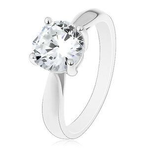 Zásnubný prsteň z 925 striebra - veľký číry zirkón, lesklé hladké ramená - Veľkosť: 54 mm