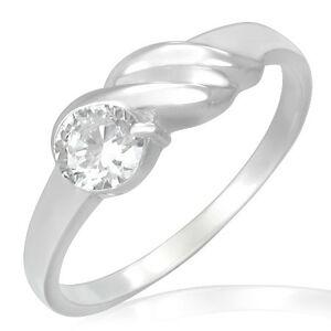 Zásnubný prsteň z ocele - trblietavý zirkón, vlnky - Veľkosť: 60 mm