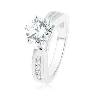 Zásnubný prsteň, zdobené ramená, okrúhly číry zirkón, výrezy, striebro 925 - Veľkosť: 56 mm