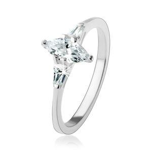 Zásnubný prsteň zo striebra 925, číry zrnkový zirkón, žiarivé lichobežníky - Veľkosť: 58 mm